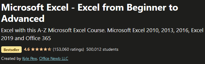 Microsoft Excel - Excel from Beginner to Advanced
