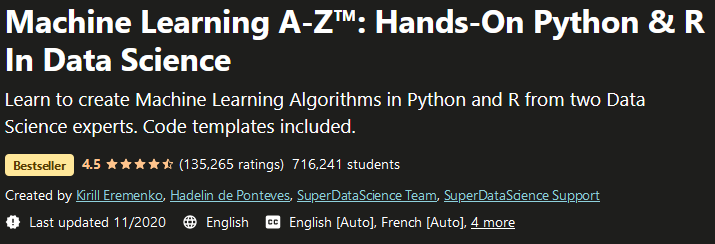 Machine Learning A-Z Hands-On Python & R In Data Science